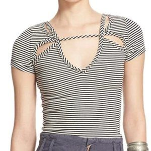 Free People Striped Cut-Out Short Sleeve Top